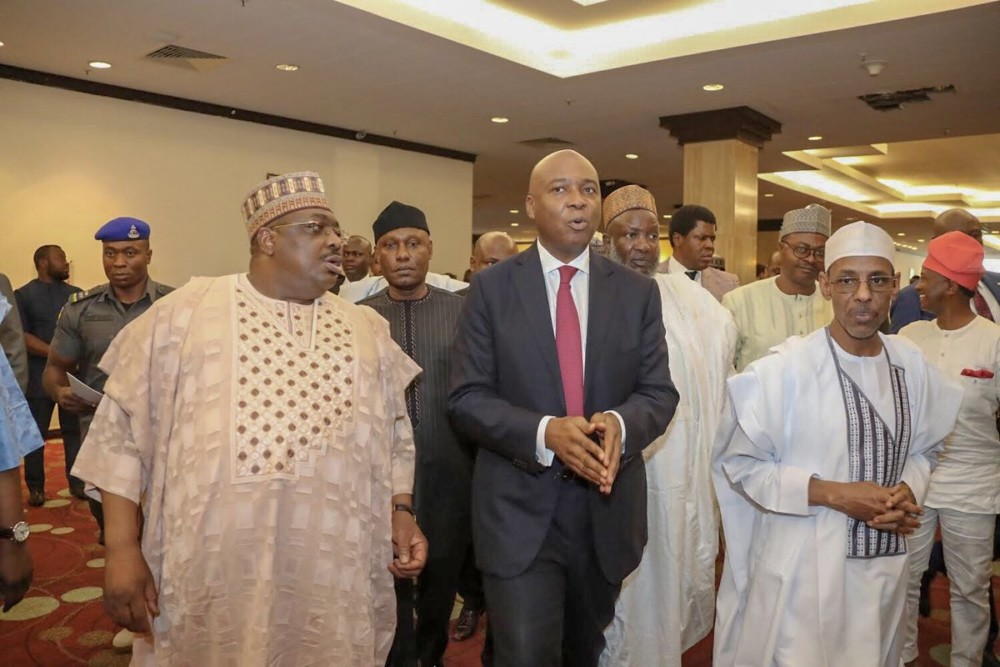 Saraki arriving the venue of the meeting earlier today